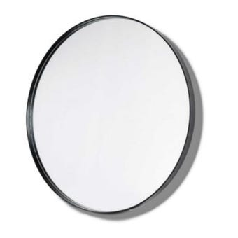 Innova BLMR100BK Black Round Shape Metal Frame Mirror