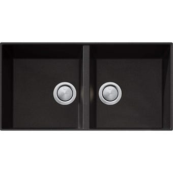 Oliveri STBL1563U Santorini Black Double Bowl Sink