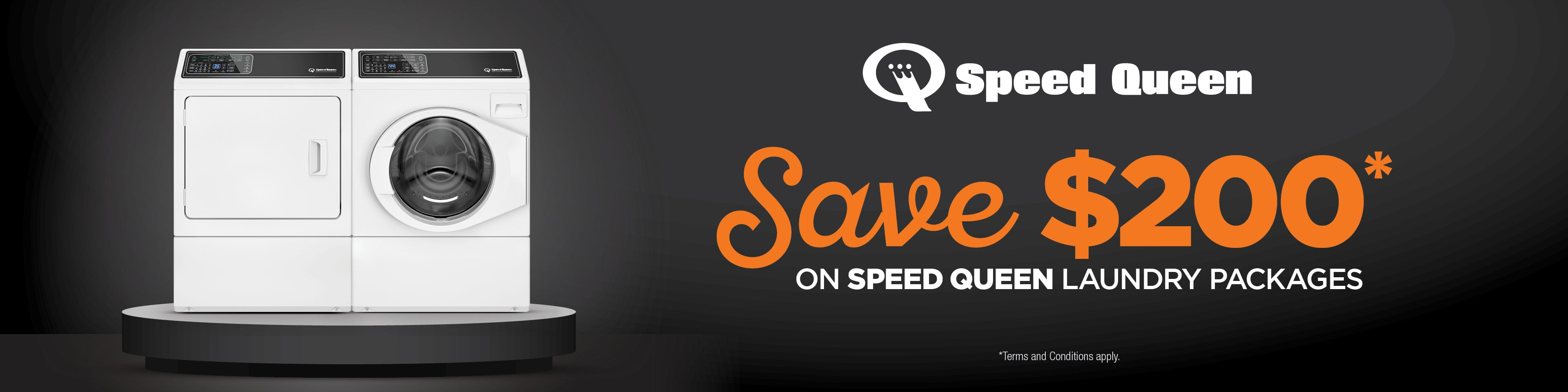 Save $200 on selected Speed Queen Washing Machine & Dryer Packages. Conditions Apply.