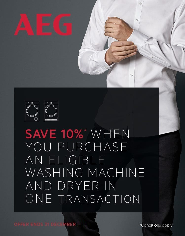 Save up to 10% on AEG Laundry appliances with e&s. Conditions apply.