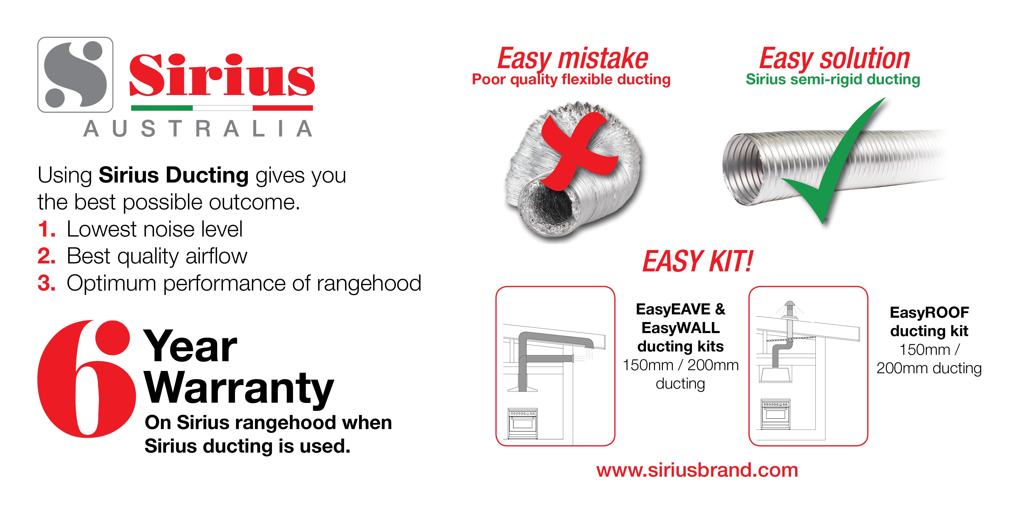Upgrade your Sirius Rangehood Warranty with Sirius Ducting at e&s. Enquire within.