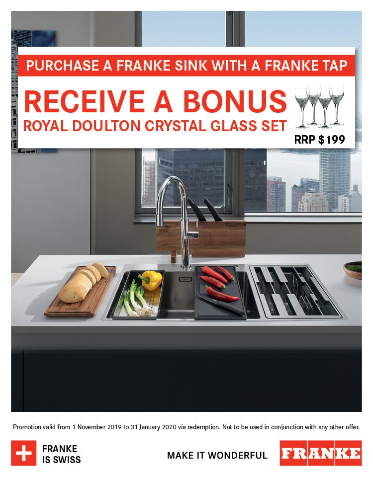 Bonus Royal Doulton crystal glass set with any Franke Sink & Tap purchase. Conditions apply - ENDS 31/01/20