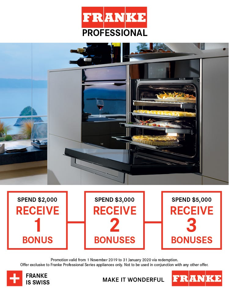 Bonus Essteele Per Salute Cookware when you spend $2,000 with Franke Professional. Conditions apply - ENDS 31/01/20