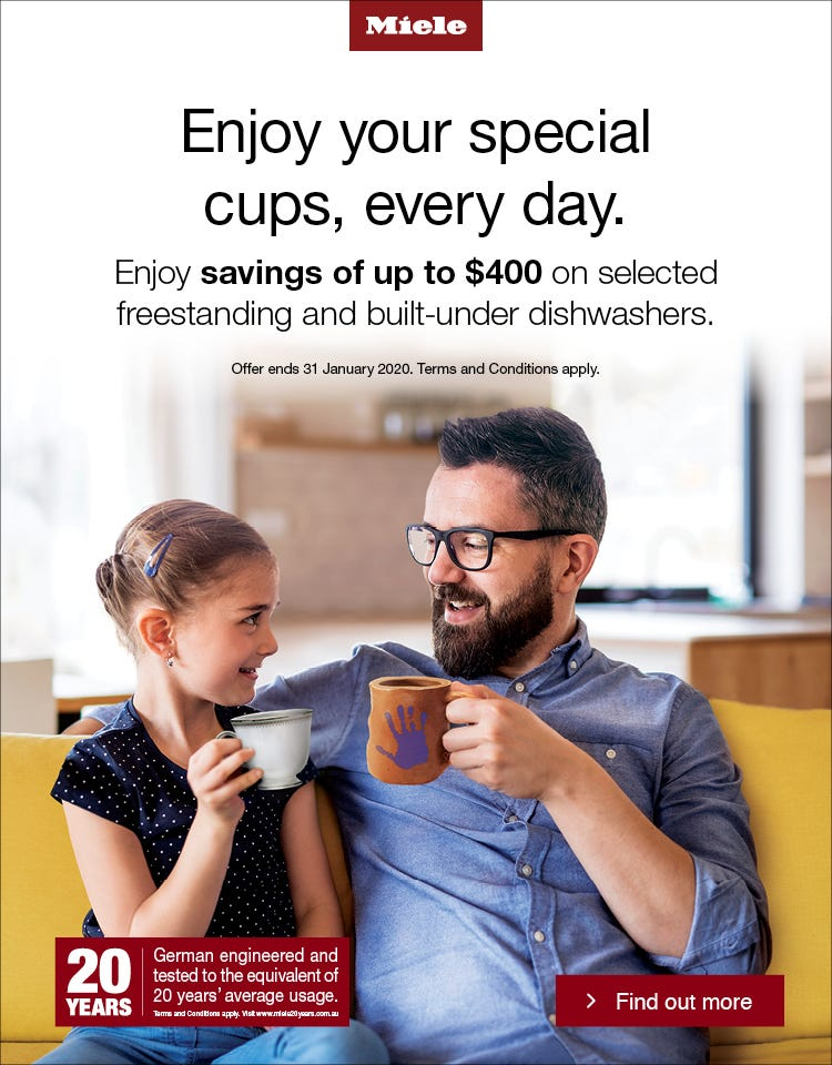 Save up to $400 on selected Miele Freestanding and Built under Dishwashers. Conditions apply - ENDS 31/01/20