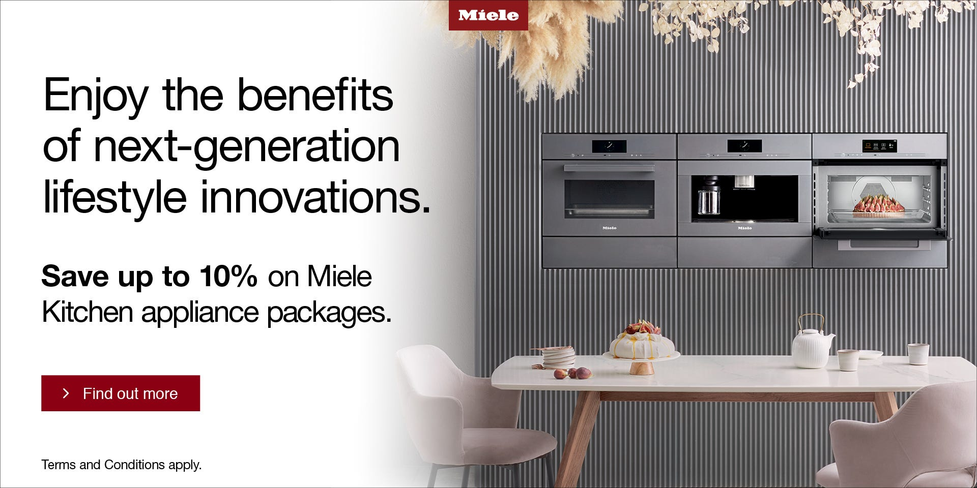 Save up to 10% on Miele Kitchen appliance packages with e&s. Conditions apply.