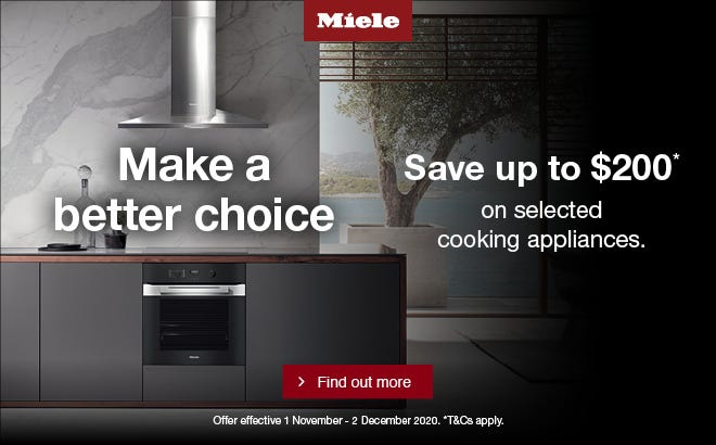 Save up to $200 on selected Miele Cooking Appliances. Conditions apply - ENDS 02/12/20