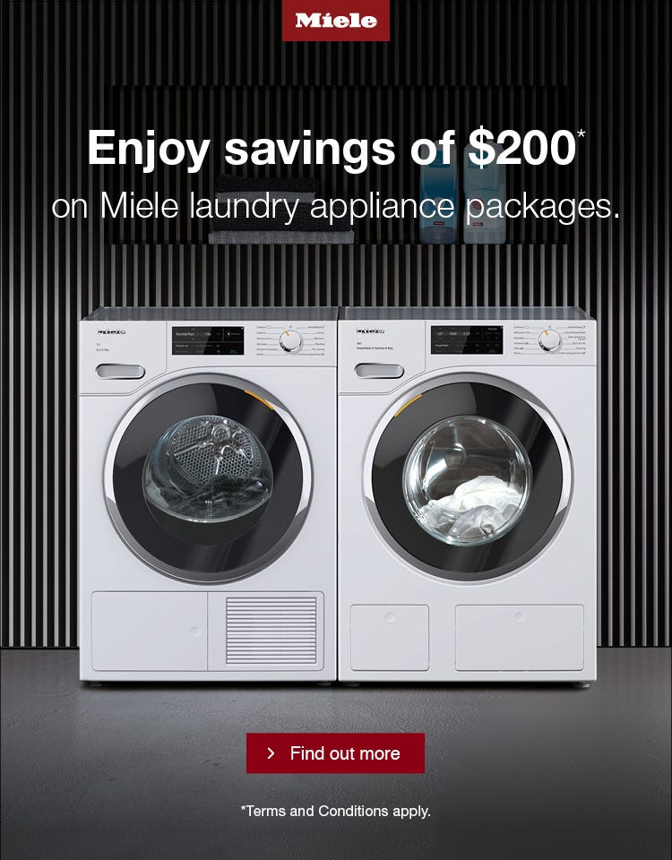 Enjoy Savings of $200 on Miele Laundry Packages, Plus 30 Day Money Back Guarantee. Conditions apply.