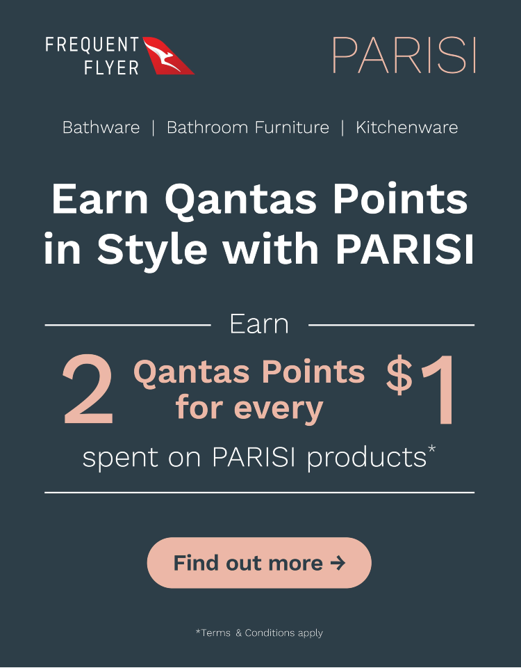 Earn Qantas Frequent Flyer Points with PARISI. 2 Points for every $1 spent on PARISI products. Conditions apply - ENDS 31/12/21